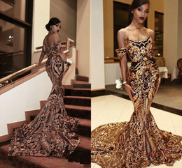 black lace fishtail evening dress Australia - Luxury Gold black Prom Dresses Mermaid off shoulder Sexy African fishtail Prom Gowns Vestidos Special Occasion Dresses Evening Wear