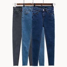 602406bc64ab3 New Slim Stretch High Waist Skinny Jeans Female Scratch Worn Feet Vintage  Black Blue Pencil Pants Women Jeans Plus Size S-4XL M2