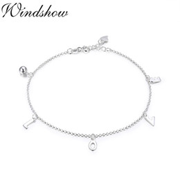 leg chain girl NZ - Pure Real 925 Sterling Silver Rolo Chain LOVE Charms Anklet For Women Girls Friend Foot Jewelry Leg Bracelet Barefoot Tobillera