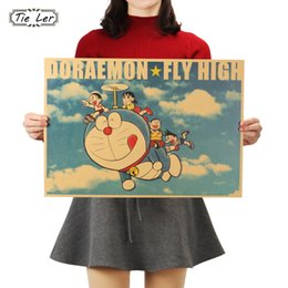 black tie bar wholesale NZ - TIE LER Doraemon A Style Classic Cartoon Movie Comic Kraft Paper Bar Poster Retro Wall Sticker 51.5X36 cm