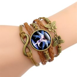 Wholesale Beautiful angel Time Gem Cabochon charm bracelet Vintage butterfly decoration multi layer PU weaving bracelet styles hand chain