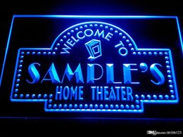 Discount custom home bar signs - DZ009-b Name Personalized Custom Home Theater Bar Neon Sign