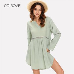 7b38468dfe5 COLROVIE Green V Neck Curved Hem Hollow Out Casual Mini Dress Women 2018  Autumn Solid Loose Sexy Dress Loose Female Dresses curves dresses women  promotion