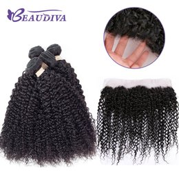KinKy curly front closure online shopping - 8a Peruvian Hair Virgin Hair Kinky Curly Weave With Lace Front Peruvian Virgin Kinky Culry Human Hair With Lace Closure