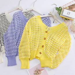 $enCountryForm.capitalKeyWord Canada - 2018 Autum New Arrival Korean Knitted Jacket Women V-neck Full Lantern Sleeve Hollow Strips Jackets Sweet Cotton Tops Yellow