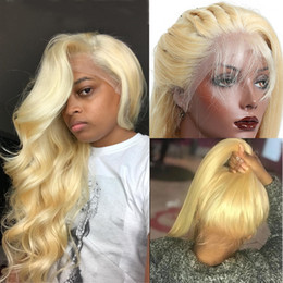 Dark blonDe virgin brazilian hair online shopping - Blonde Human Hair Lace Front Wig Pre Plucked Body Wave Virgin Peruvian Hair Glueless Blonde Full Lace Front Wigs For Black Women