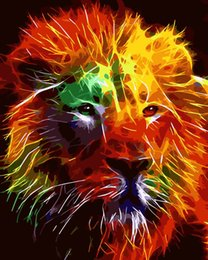 Diy wall picture online shopping - 0329MZH169 Home wall Deco picture DIY number oil painting abstract comfortable painting by numbers animal colorful lion