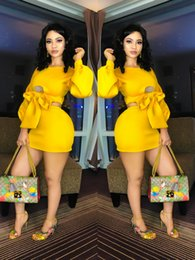 Sexy Suit Bows NZ - Temperament Sexy Party Dresses Bow-knot Mini Bodycon Dress Short Skirt Suits Solid Color Yellow Long Sleeve Sheath Dress Women Clothing