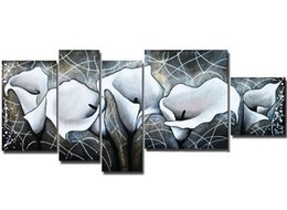 piece paintings Canada - Hand-painted Abstract White Flower Oil Painting Handmade Graffiti Line Floral Paintings 5 Piece Picture Wall Canvas Art Set