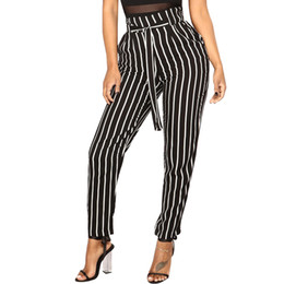 3a4b79e8fd508 Fashion Harem Pants Casual Lace Up Pants Women High Waist Vertical Stripes  Trousers Female Pants S-3XL