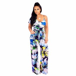 46e53966cd7 S-XXXL Summer women Overalls Jumpsuits Floral Print Sashes Wide-Legged 2018  Outfits casual sexy fashion Bandage rompers