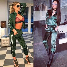 Black Spring Outfits Women Canada - Summer Spring Black Green Women Jacket with Pants Two Piece Set Outfit Women Long Pants Designer Tracksuits