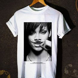 $enCountryForm.capitalKeyWord NZ - Rihanna 'LIFE IS A JOKE' T-Shirt New Men's Tshirt Tee Size S to 3XL Short Sleeve Cotton T Shirts Man Clothing Solid Color