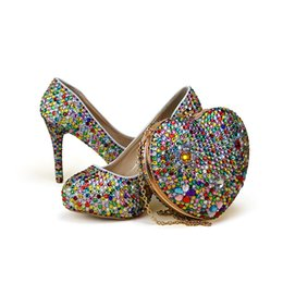 Heart stiletto pumps online shopping - Small Rhinestone Mix Color High Heel Party Shoes with Heart Shape Bag Wedding Bridal Shoes Adult Ceremony Shoes with Clutch Bag