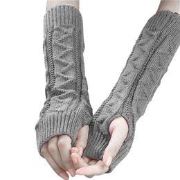 Keyboard gloves online shopping - Women Winter Wrist Arm Warmer Knitted Keyboard Long Fingerless Gloves Mitten