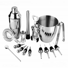 $enCountryForm.capitalKeyWord Australia - Hot sale 16 pieces Sets New Vodka shaker bar tools bpa free Stainless steel high-end Whisky cocktail shakers wine set with ice bucket