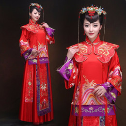 wedding bride dress chinese Australia - Oriental Bride Wedding Cheongsam Dress Ancient China traditional red clothing Qipao chinese style wedding vintage suits women