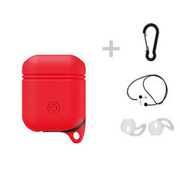 airpods case shockproof UK - Soft Silicone Cover For Apple Airpods Waterproof Shockproof Protector Case Sleeve Pouch For Air Pods Earphone Case rope Ear Pads