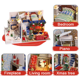 Small House Decoration Australia - Kitoz DIY Christmas Doll House Miniature Small Wooden Room Box Dollhouse Home Xmas Souvenirs Decoration Building Toy for Children