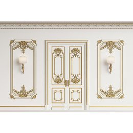 vinyl backdrop window 2019 - Luxury Wedding Photo Wall White Carved Golden Windows Doors Bracket Lamps Printed Vinyl Photography Studio Background Ba