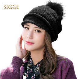 Women Winter Warm Skullies Solid Wool Brim Fleece Pom Pom Beret Hats Peaked  Thick Casual SIGGI 2017 Beanies For Women 89213 peak beanies deals e7af05747a45