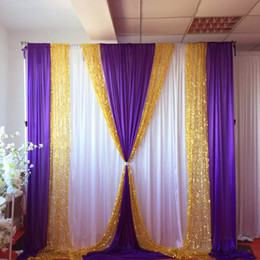 10ft X10ft Free Shipping White Curtain Purple Ice Silk Drape Gold Sequin Backdrop Wedding Party Decoration