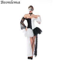 $enCountryForm.capitalKeyWord NZ - Beonlema Sexy Corset Dress Transparent Lace Long Sleeves Korse Waist Bustier Black White Adult Tutu Mesh Skirt Ball Dress