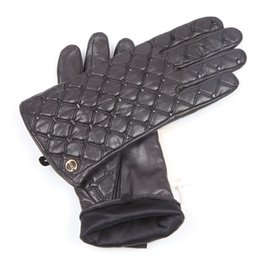 Genuine Leather Gloves Sheepskin Australia - Autumn Winter New Woman Genuine Leather Gloves Imported Sheepskin Classic Checkered Embroidery Female Driving Mittens EL037NN