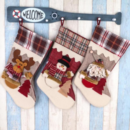 Discount santa stocking holders - Creative Christmas Stocking Chrismas Decorations for Home Christmas Tree Ornaments Gift Holders Large 1pcs Santa Stockin