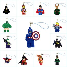 Superhero Keychains Canada - 1PCS Superhero Cartoon Figure PVC Bag Cell Phone Hanging Ornaments Phone Straps Keychains Accessories Kid Gift Party Favors