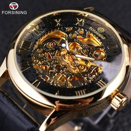 pin display cases NZ - x Forsining Retro Classic Design Roman Number Display Transparent Case Mechanical Skeleton Watch Men Watch Top Brand Luxury Clcok