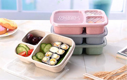 $enCountryForm.capitalKeyWord Australia - 3 Grid Lunch Box Multifunction Microwave Wheat Straw Fruit Food Storage Container Portable Outdoor Travel Picnic Bento Boxes Durabl SN2125