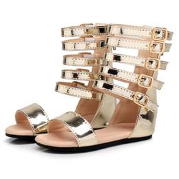 04119ad9 Littlesummer summer baby girls zapatos de gladiador Roman Children shoe  niños de cuero Zapatos de tacón alto sandalias de moda niña abierta