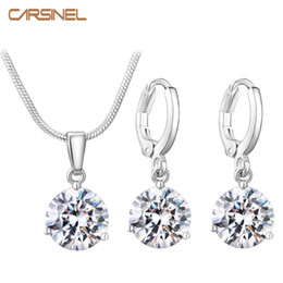 $enCountryForm.capitalKeyWord Australia - CARSINEL 21 Colors Jewelry Sets for Women Round Cubic Zircon Hypoallergenic Copper Necklace Earrings Jewelry Sets Wholesale