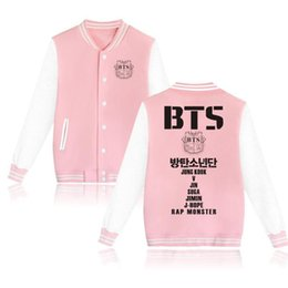 Purple Black Fashion Uniform Canada - BTS Kpop Bangtan Boys Baseball Uniform Jacket Coat Women Harajuku Sweatshirts Winter Fashion Hip Hop Album Pink Hoodie Outwear