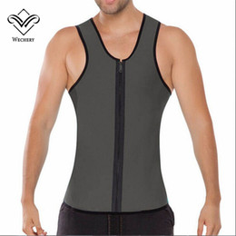 Barato Emagrecimento Desgaste Shaper Grossistas-Wholesale-Wechery Body Hot Shaper Tops para o homem Neoprene Sweat Slimming Belt Belly Vest Slim Shaperwear Ultra Plus Size Abdomen Sauna wear