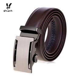 Band Belts Australia - VBIGER Men Genuine Leather Top-Level Cowhide Belt Male Business Casual Strap Waist Band with Automatic Buckle brown