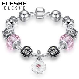 $enCountryForm.capitalKeyWord Australia - ELESHE Authentic Tibetan Silver Field of Daisy Flower Charm Bracelet Fit Bracelets Bangles for Women DIY Original Jewelry Gift