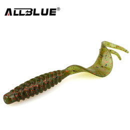 isca lure Canada - ALLBLUE Creek Single Tail Soft Bait 3.2g 82mm 8pcs lot Biforked Grubs Silicone Fishing Lures isca artificial Y18100906