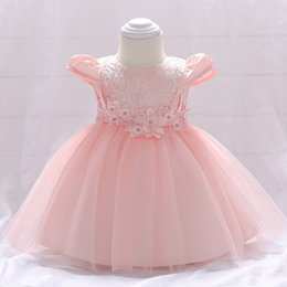 bright color gown NZ - Baby age dress small flower princess dress baby bright beads flying sleeves pink wedding dress skirt
