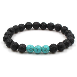 Wholesale Unisex mm Lava Rock Turquoise Bracelets Lapis Lazuli Elastic Bangles For Women Men Yoga Bracelet Gift