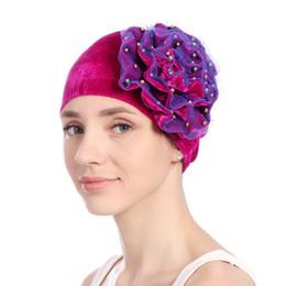 7c0a554deff Floral Faux Pearl Beading Islamic Muslim Hijab Women Turban Hat Pleuche  Headwrap