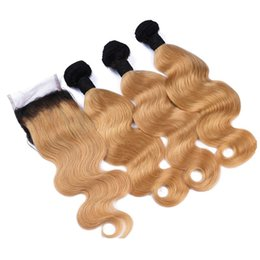 honey blonde ombre virgin hair 2019 - Ombre 1B 27 Honey Blonde Body Wave Human Hair Bundles With Lace Closure Strawberry Blonde Ombre Virgin Hair Extension Wi