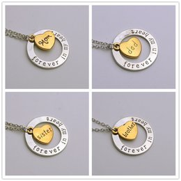 Discount uncle jewelry - Couple loving Forever in my Heart Family Member Pendant Necklace Love Grandpa uncle aunt mom Dad Brother jewelry Gift