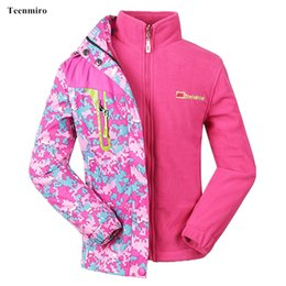 fleece lined tops Canada - Autumn Winter 2pcs Girls Jacket Windbreaker Kids Rain Coat Children Sport Blazer With Fleece Liner Waterproof Tops 5-15Y
