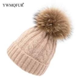 f3777f5e4fc4cb Winter Hat For Women Knitted Wool Warm Girl Hat With Raccoon Fur Ball 2018  New Arrival Female Solid Color Beanies Adult Caps