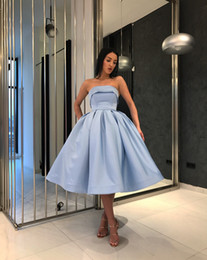 Short Strapless White Silver Dress NZ - Light Blue Short Evening Prom dresses For Girls 2018 Simple Under 100 Formal Gowns Strapless Satin ball Gown Party Homecoming Cocktail Dress