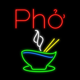 "Vietnam White NZ - Pho Cheese Neon Sign Custom Handmade Real Glass Tube Store Restaurant Rice Noodles Vietnam Food Advertisement Display Neon Signs 14""X17"""