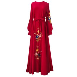$enCountryForm.capitalKeyWord UK - Floral Embroidery Islam Dress 2018 Noble Long Sleeve Muslim Women Maxi Dress Elegant A-line Big Swing Muslimic Evening