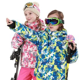 Wholesale Children s Snow Ski Suits For Baby Boys Girls Outdoor Wear Hooded Jackets Bandage Pants Kids Winter Warm Snowboard Coat Sets